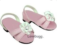 Pink Kitten Heel Sandals 18 inch American Girl or Bitty Baby Doll Shoes