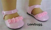 Pink Flower 18 inch American Girl or Bitty Baby Doll Shoes