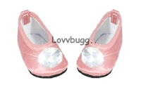 Pink Jewel Flats 18 inch Girl or Bitty Baby Doll Shoes