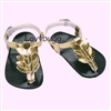 Gold Greek Leaf Sandals 18 inch Girl or Bitty Baby Doll Shoes