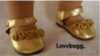 Gold Flower Shoes 18 inch Girl or Bitty Baby Doll Shoes