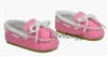 SALE Pink Suede Moccasins Slippers 18 inch Girl or Bitty Baby Doll Shoes
