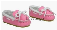Pink Suede Moccasins Slippers 18 inch Girl or Bitty Baby Doll Shoes