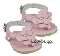"""Hot Pink and White Stripe Flip Flops fits 18/"""" American Girl Dolls shoes"""