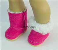 Hot Pink Shearling Ewe Uggly Boots 18 inch American Girl or Bitty Baby Doll Shoes