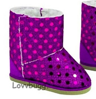 Purple Sequins Shearling Ewe Uggly Boots 18 inch Girl or Bitty Baby Doll Shoes