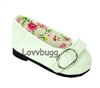 White Colonial Buckle Flats 18 inch Girl or Bitty Baby Doll Shoes