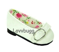 White Colonial Buckle Flats 18 inch American Girl or Bitty Baby Doll Shoes
