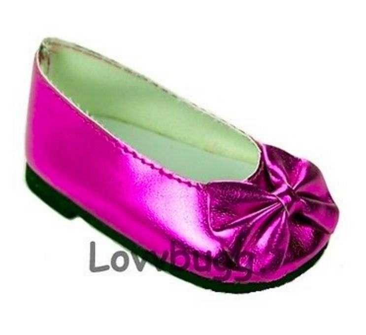 Hot Pink Metallic Bow Flats 18 inch