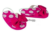 Hot Pink Spots Dots Flip Flops 18 inch American Girl or Bitty Baby Doll Shoes