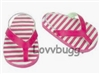 Pink Stripe Flip Flops 18 inch Girl or Bitty Baby Doll Shoes