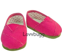 Hot Pink Canvas Tomsy Sneakers 18 inch American Girl or Bitty Baby Doll Shoes