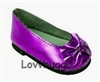 Purple Ballet Flats Bow 18 inch Girl or Bitty Baby Doll Shoes