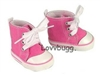 Pink High Tops Sneakers 18 inch Girl or Bitty Baby Doll Shoes
