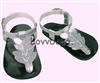 Silver Greek Leaf Sandals 18 inch American Girl or Bitty Baby Doll Shoes