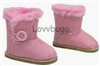 Pink Button Shearling Ewe Uggly Boots 18 inch Girl or Bitty Baby Doll Shoes