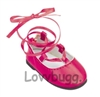 Pink Lace Up Ballet Flats 18 inch Girl or Bitty Baby Doll Shoes