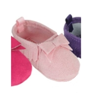 Soft Pink Fringe Suede Moccasins for 15 inch Bitty Baby Doll Shoes