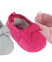 Hot Pink Fringe Suede Moccasins for 15 inch Bitty Baby Doll Shoes