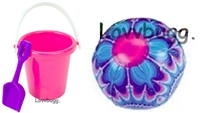 Beach Bucket Pail and Beach Ball for any American Girl Doll Accessory