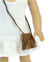 Brown Suede Fringe Purse for American Girl and Wellie Wishers Doll Clothes Accessory