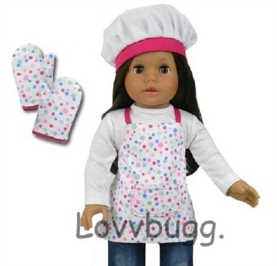 Baking Apron with Hat and Mitts Set 18 inch American Girl Doll Clothes Accessory