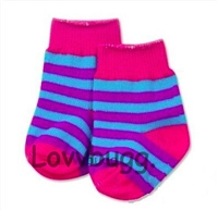Striped Socks Blue Purple Pink 18 inch Girl or Bitty Baby Doll Clothes Accessory