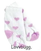 Lavender Heart Socks for American Girl 18 inch of Bitty Baby 15 inch Doll Clothes or Preemie Baby