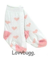 SALE Pink Heart Socks 18 inch American Girl or Bitty Baby Doll Clothes Accessory