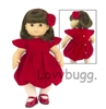 Red Velvet Dress Headband Set 15 inch Bitty Baby Doll Clothes