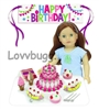 Birthday Party 20pc Play Set--Cake, Banner, Ice Cream, Banana Splits, Spoons, Napkins--18 inch American Girl Doll Accessory