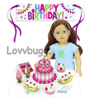 "Birthday Party Play Set with Cake Foods Banner for 18"" American Girl Doll Accessory"