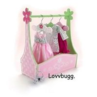 Mini Dress Rack and Tote Box 18 inch American Girl, Bitty Baby or Wellie Wishers Doll Clothes Storage Accessory