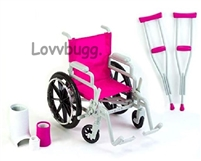 Wheelchair Set with Crutches 18 inch American Girl Doll Accessory