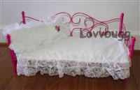 Complete Pink Day Bed with Bedding 18 inch American Girl or 15 inch Bitty Baby Doll Furniture