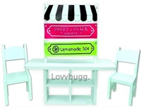 Lemonade Bakery Stand Table Chairs for American Girl Doll Furniture