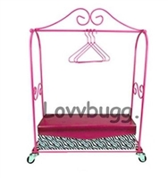 Mini Rolling Dress Rack with Box and Hangers for 18 inch Doll Clothes Storage Furniture