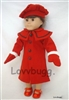 "Red Wool Coat Set 4 pcs for 18"" American Girl Doll Clothes"