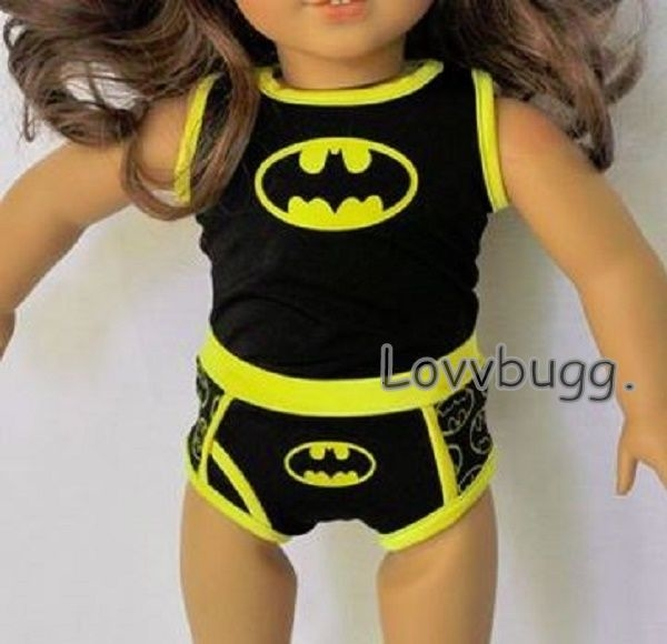BATMAN PAJAMA SLIPPERS FOR 18 IN AMERICAN GIRL BOY DOLL CLOTHES ACCESSORIES