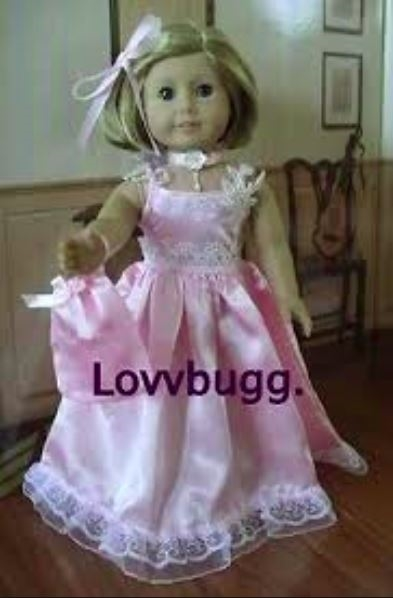 Dress Gown Pink Satin Pantaloon Purse Necklace Fits 18 Inch American Girl Dolls