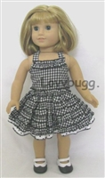 SALE Black Gingham Polka Party Dress 18 inch American Girl or Bitty Baby Doll Clothes