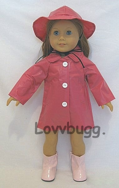 """Pink Raincoat and Hat  Fits 18/"""" American Girl Dolls"""