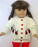 "Ladybug Sweater for 18"" American Girl or Bitty Baby Doll Clothes"