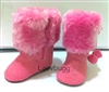Pink Fur Top Boots 18 inch American Girl and Bitty Baby Doll Shoes