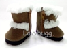 Brown Shearling Furry Boots 18 inch American Girl and Bitty Baby Doll Shoes
