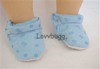 SALE Blue Fabric Baby Slippers 15 inch Doll Shoes