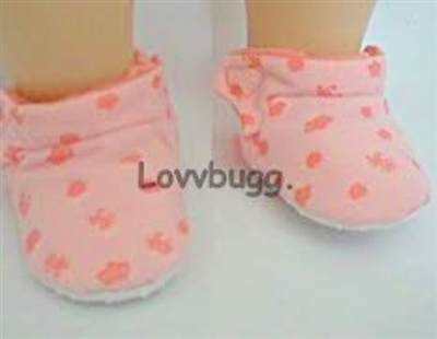 SALE Peachy Pink Fabric Slippers 15 inch  Bitty or 18 inch American Girl Doll Shoes