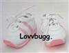 Realistic Pink Leather Tennis Sneakers for 18 inch Girl or Bitty Baby Doll Shoes