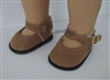 Brown Suede Mary Janes for 18 inch American Girl or Bitty Baby Doll Shoes