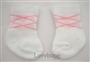 White and Pink Argyle Socks for Baby or Girl Doll Accessory or Preemie